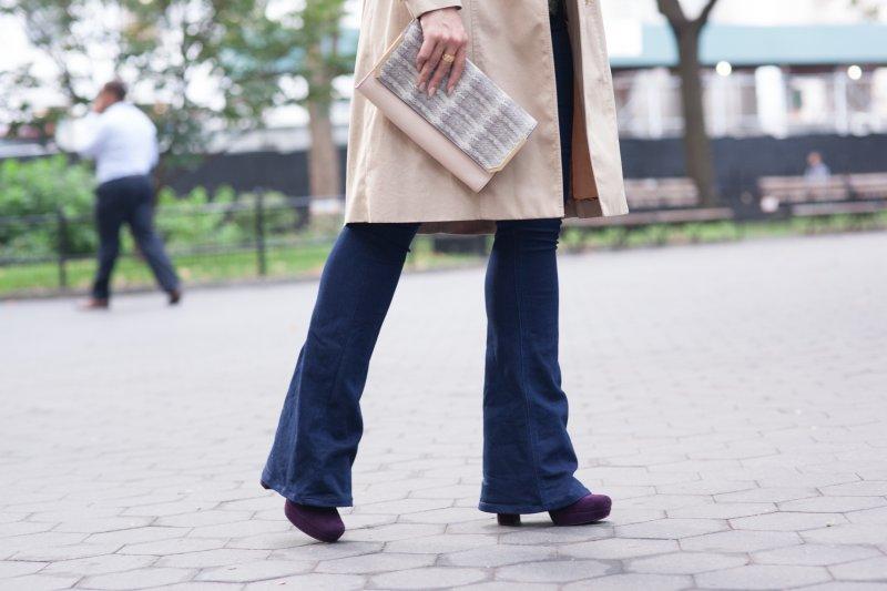 NYFW Fall Prada Purple Heels Flare Jeans