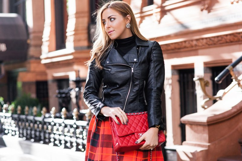 NYFW Red Plaid Skirt Chanel Classic Bag