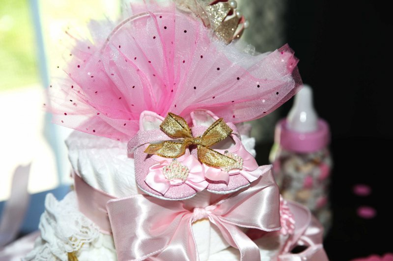 Pink and Gold Princess Baby Shower Booties