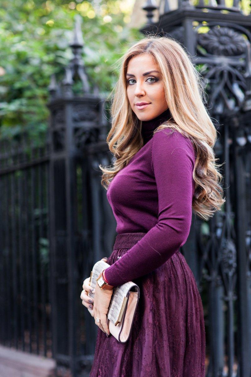 Marsala Lace Skirt NYFW