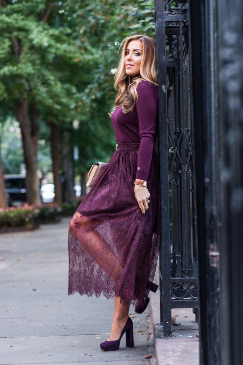 Burgundy Lace Skirt Prada Suede Heels Fall 2015 Trends