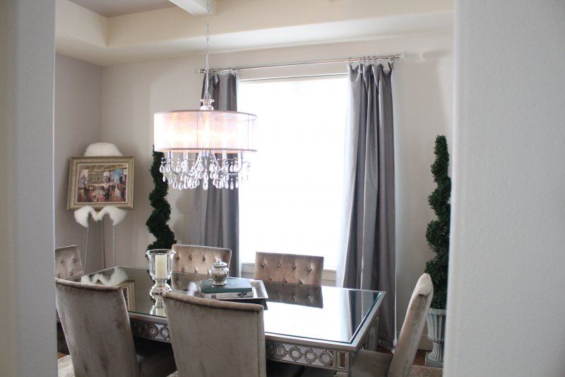 Dining Room Decor Silk Curtains Topiaries