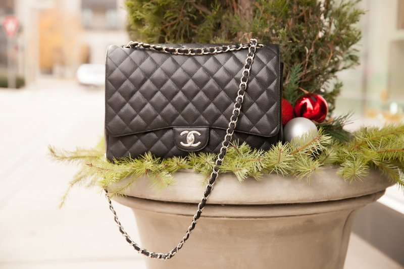 Red Coat Chanel Flap Bag Holiday Shopping in Denver Fashion Blogger