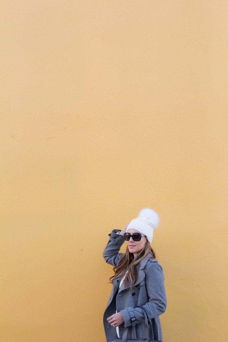 Transitional Gray Outfit Yellow Background