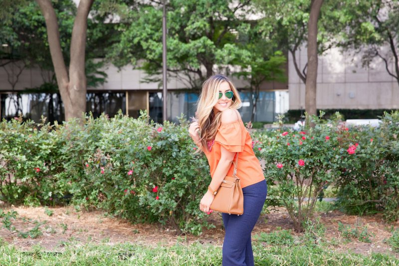 Orange Off Shoulder Top with Full Sleeves Alice and Olivia