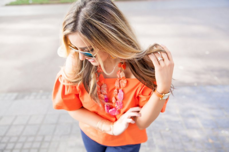 Orange Off Shoulder Top Full Sleeves Alice and Olivia Blogger