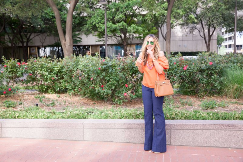 Orange Off Shoulder Top Full Sleeves Alice and Olivia