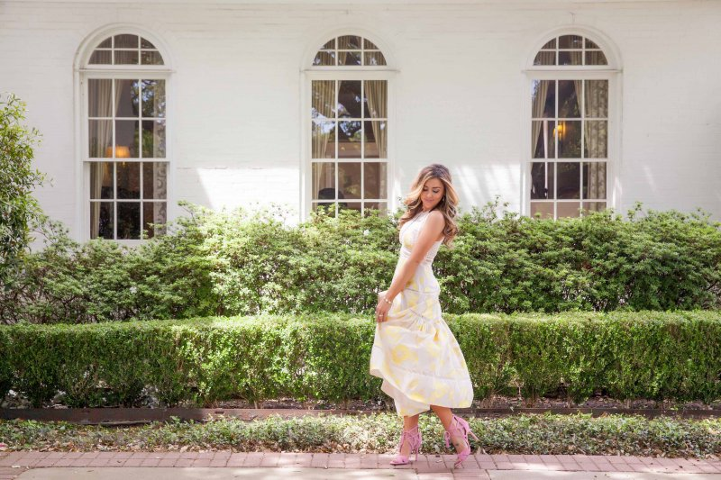 Rebecca Taylor Yellow Dress Pink Sam Edelman Tassel Heels