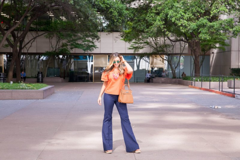 Orange Off Shoulder Top with Full Sleeves Alice and Olivia Blogger