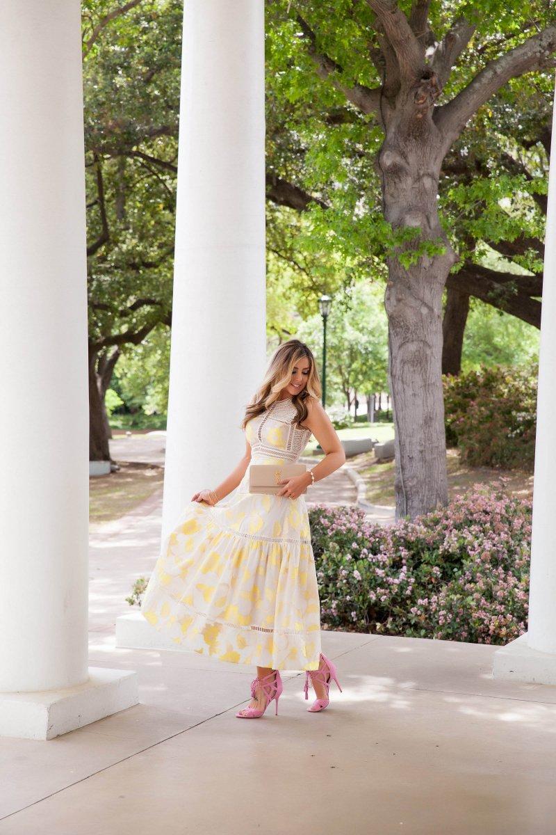 Yellow Rebecca Taylor Midi Dress Spring 2016 Style
