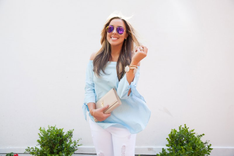 Pink Mirror Aviators Blue Off Shoulder Top