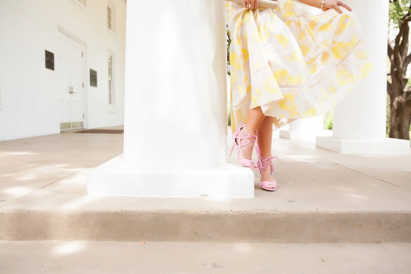 Yellow Rebecca Taylor Dress Summer 2016 Pink Sam Edelman Tassel Heels