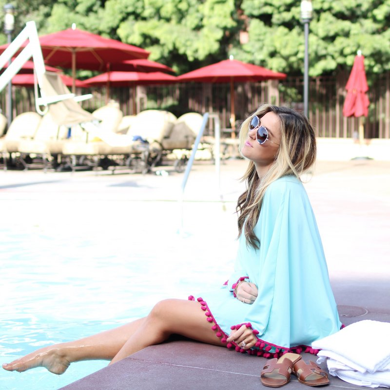 Pom Pom Beach Coverup Fashion Blogger