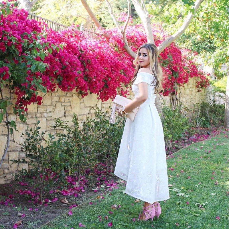 White High Low Off Shoulder Dress
