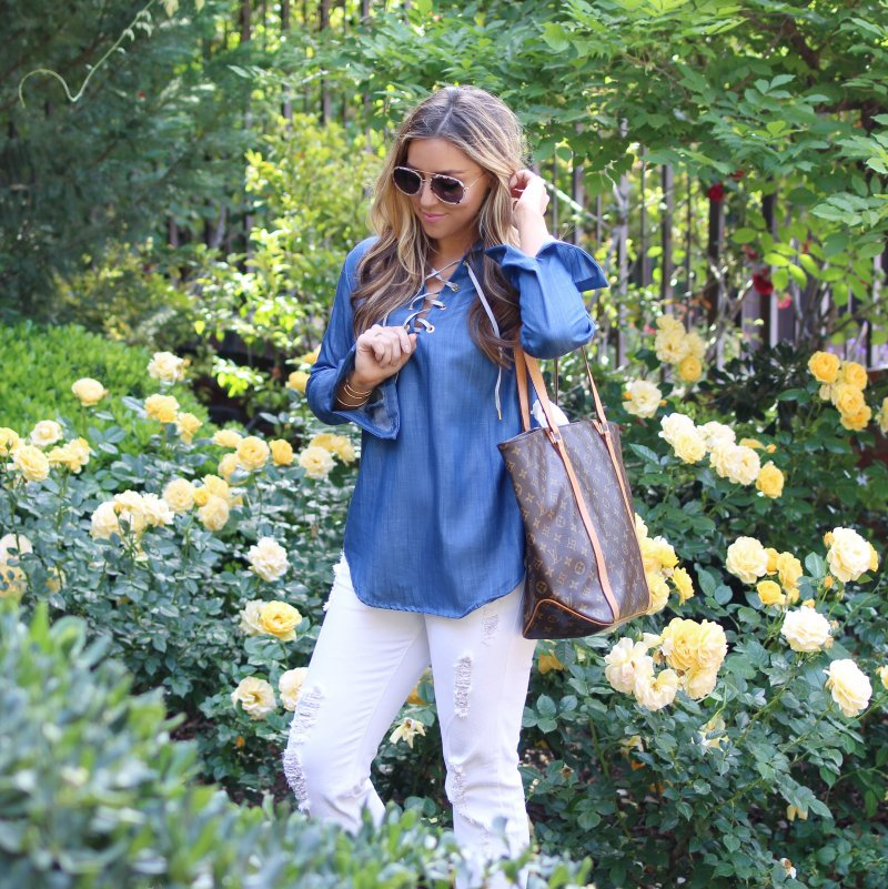 Lace Up Denim Top Fashion Blogger