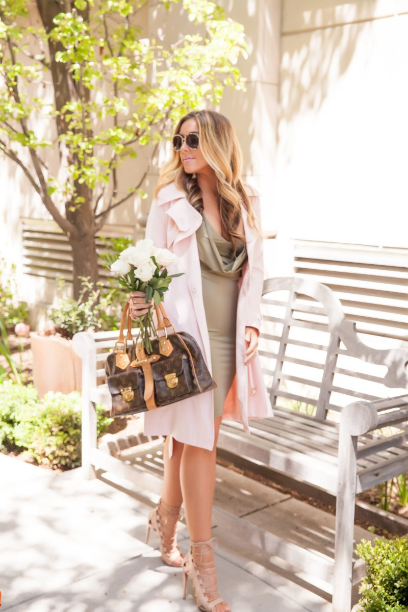 Olive Green Body Con Dress Blush Pink Trench Coat
