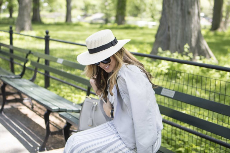 Striped Sundress in Central Park