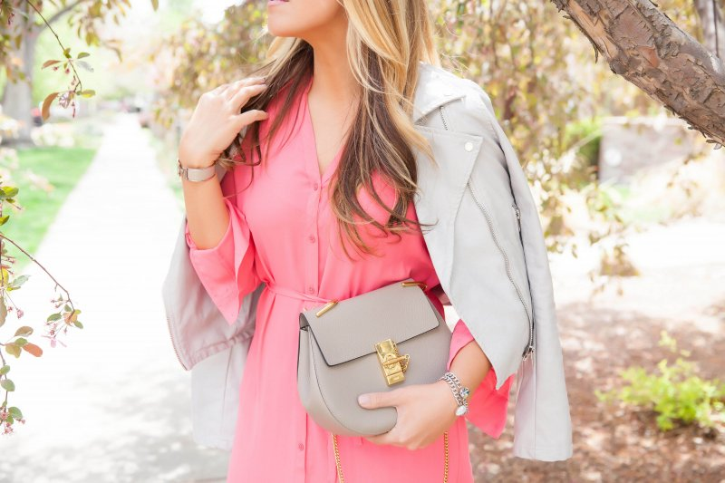 Grey Faux Leather Jacket and Coral Dress