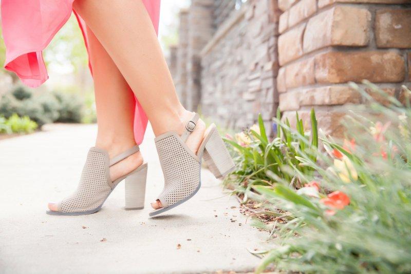 Gray Perforated Block Heels