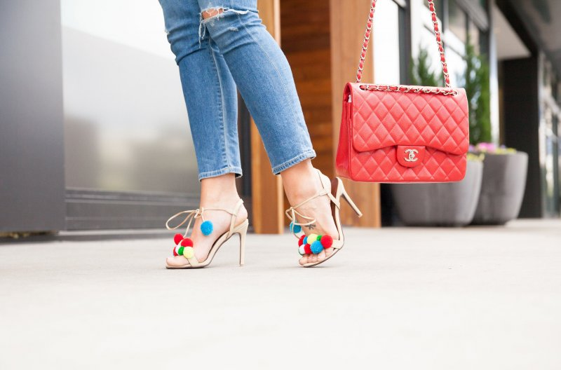 red-chanel-bag-pom-heels