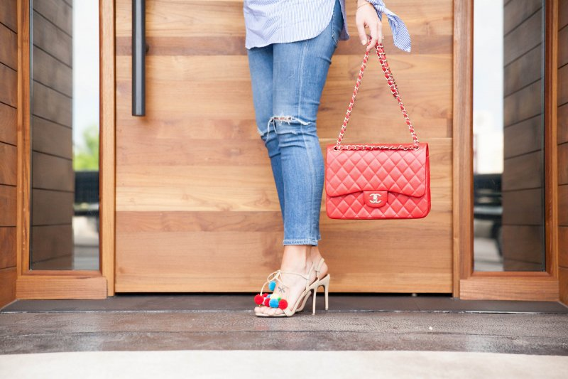 red-channel-classic-flap-bag-pom-pom-heels