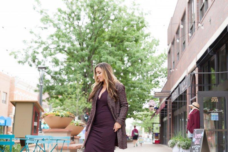 burgundy-ruched-dress-tweed-coat
