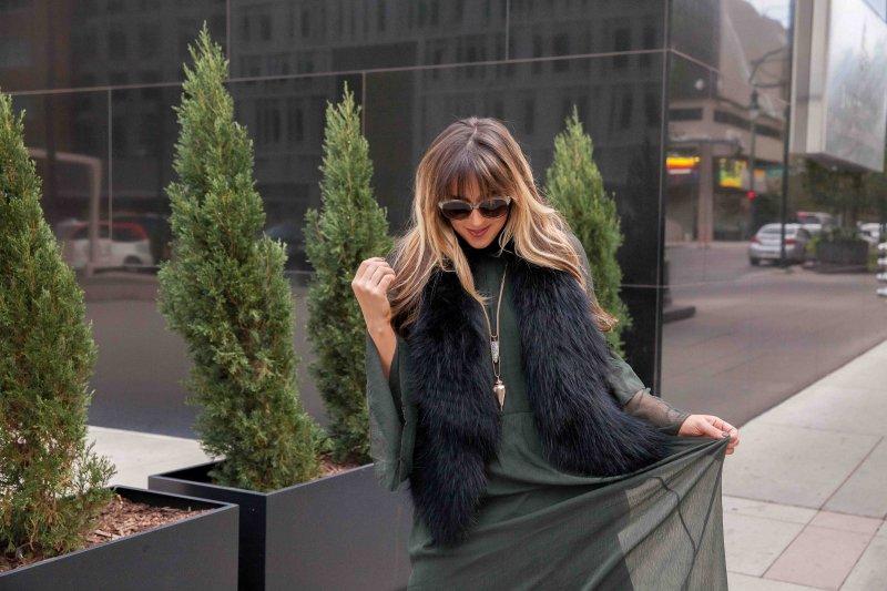 fur-vest-and-green-high-neck-dress