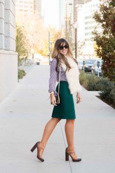 gingham-shirt-emerald-green-skirt