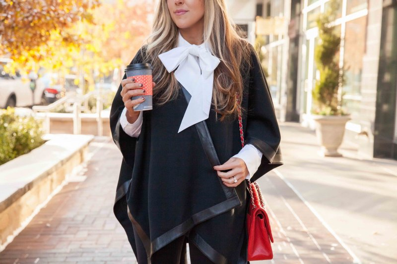 black-poncho-leather-trim-red-chanel