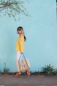 yellow-striped-off-shoulder-top