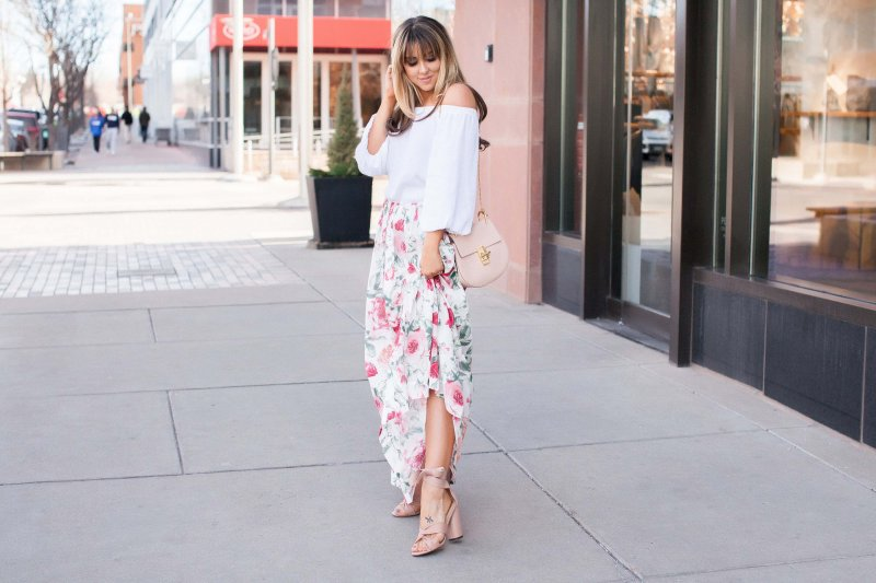 floral-skirt-off-shoulder-top