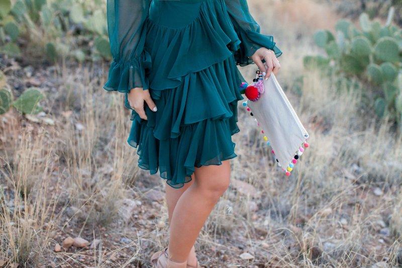 teal-silk-dress-full-sleeves