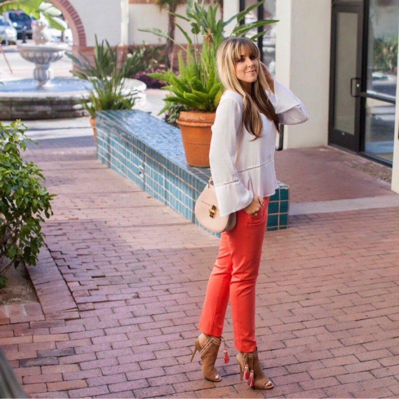 bell-sleeve-top-coral-pants