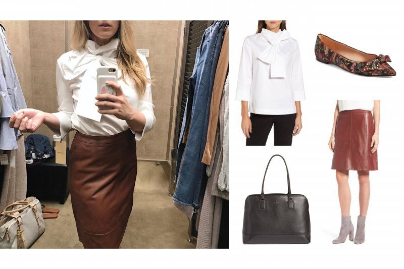 bow top leather pencil skirt