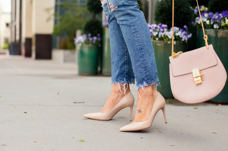 nude prada pumps