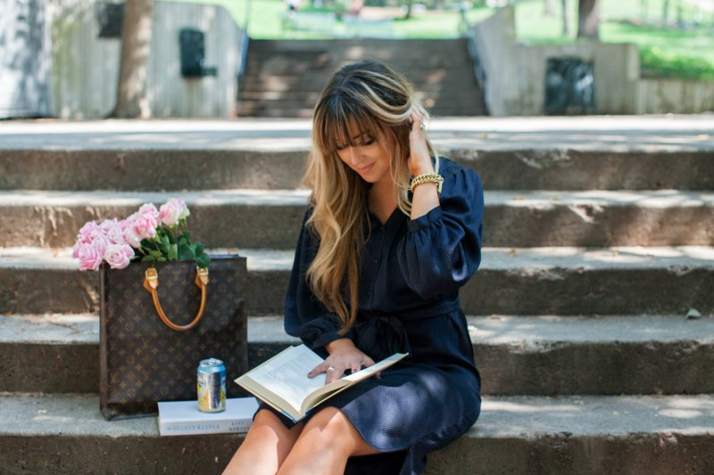 navy silk shirt dress