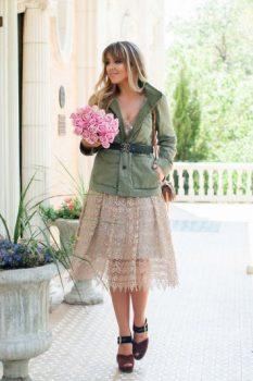 gold lace midi skirt