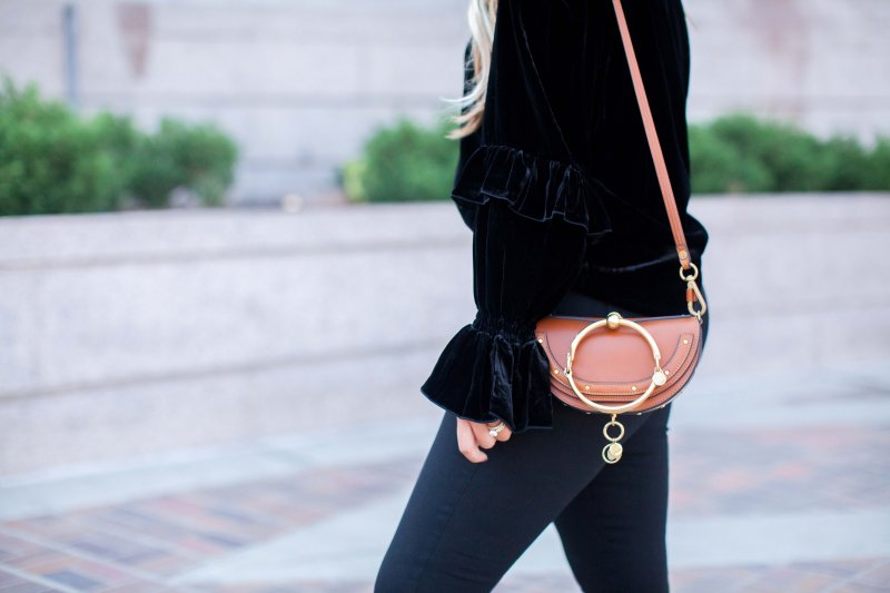 velvet ruffle top chloe nile bag