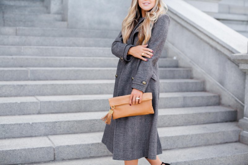 herringbone coat neutral clutch