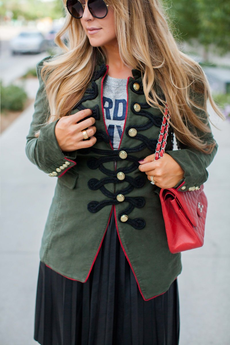military jacket pleated skirt