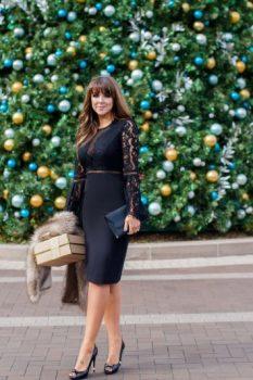 black lace holiday dress