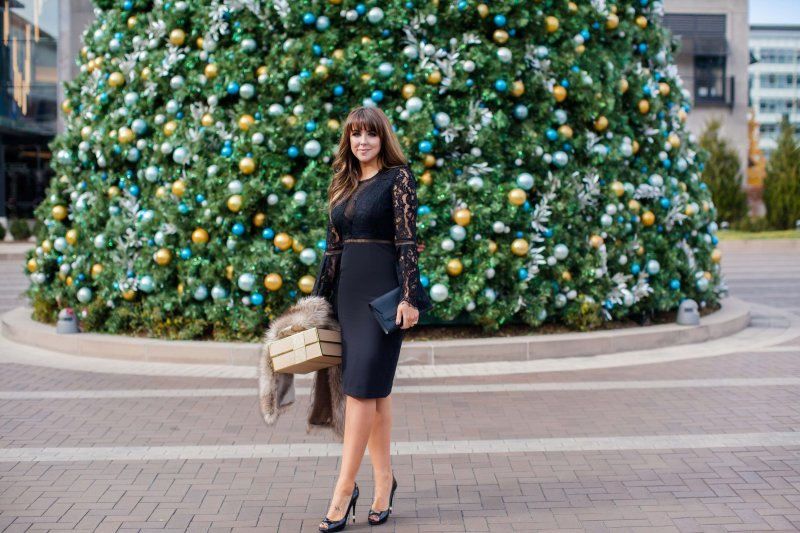 black lace holiday dress