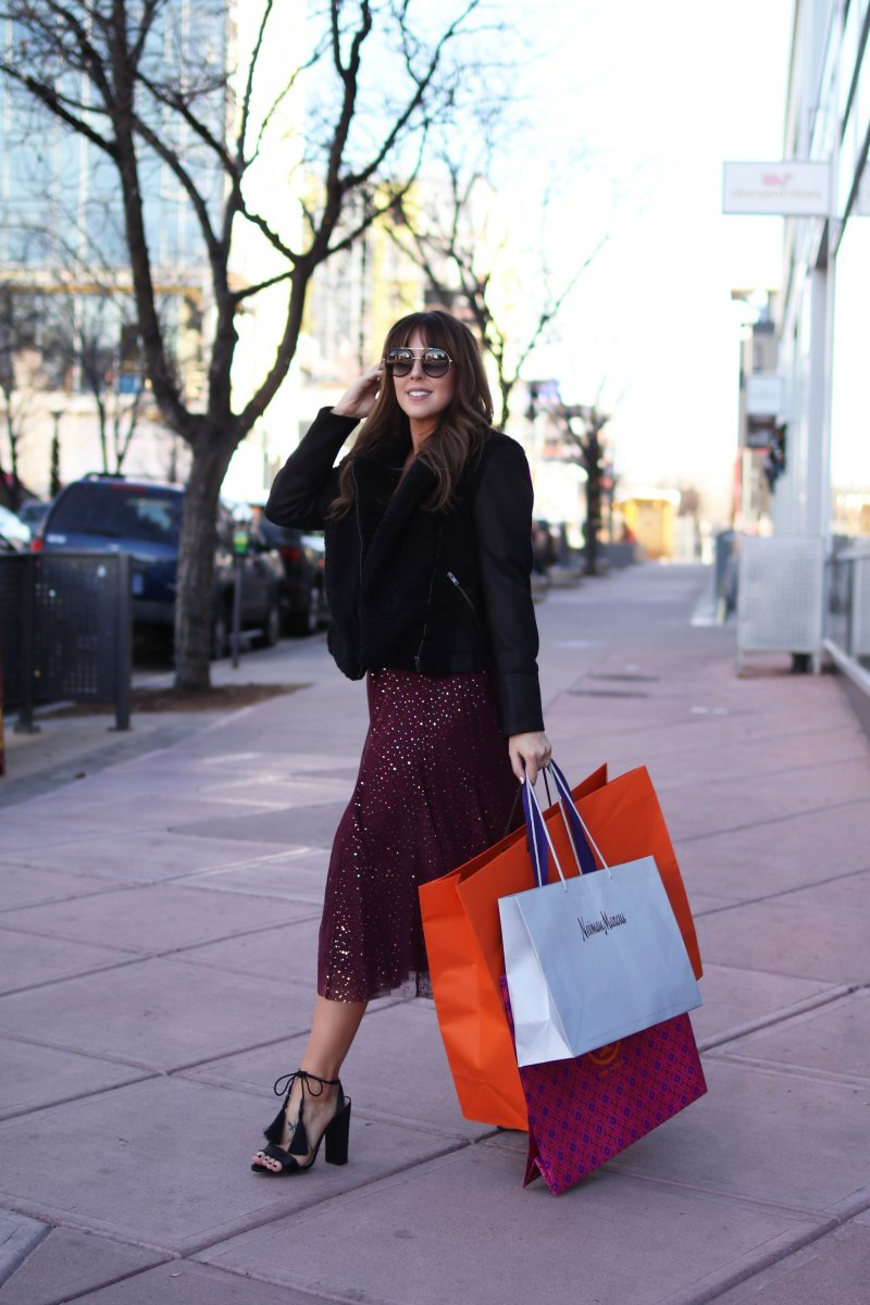 burgundy sparkle skirt