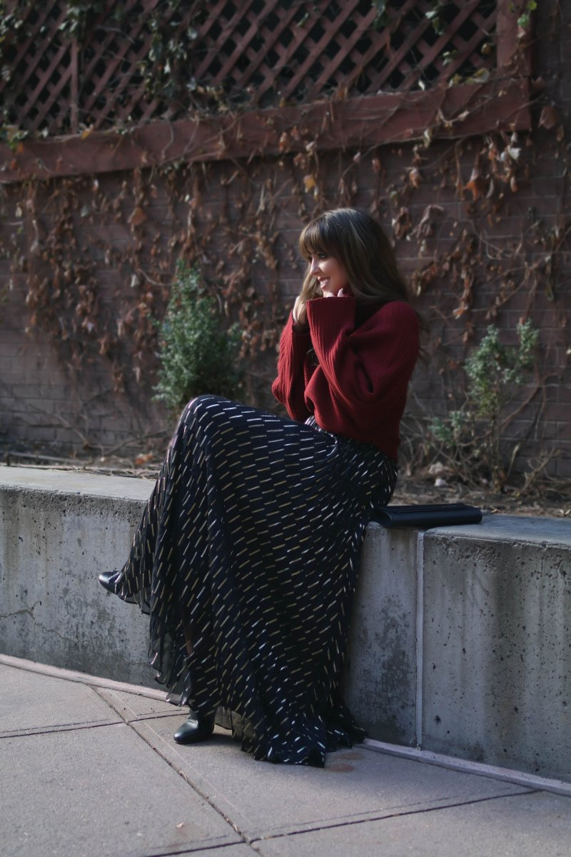 red sweater maxi skirt