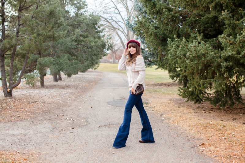 cream sweater flare jeans